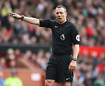 Referee Kevin Friend during the premier league match at the Old Trafford Stadium, Manchester. Picture date 29th April 2018. Picture credit should read: Simon Bellis/Sportimage