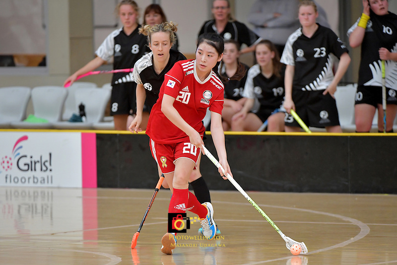 Korea's Jisoo Choi in action during the World Floorball Championships 2017 Qualification for Asia Oceania Region - New Zealand v Korea at ASB Sports Centre , Wellington, New Zealand on Sunday 5 February 2017.<br /> Photo by Masanori Udagawa<br /> www.photowellington.photoshelter.com.