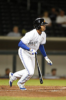 Mesa Solar Sox outfielder Dalton Pompey (6) during an Arizona Fall League game against the Peoria Javelinas on October 16, 2014 at Cubs Park in Mesa, Arizona.  Mesa defeated Peoria 6-2.  (Mike Janes/Four Seam Images)