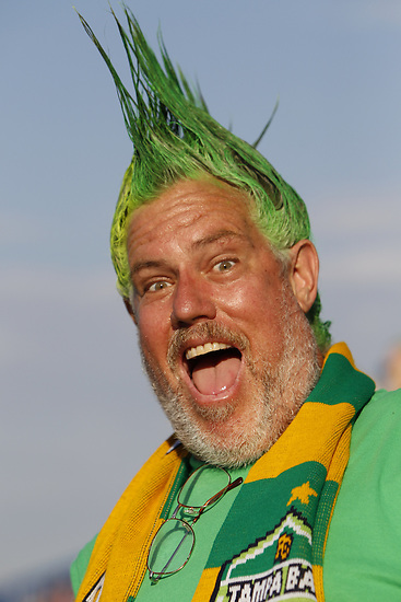 May 27, 2010; TAMPA, FLORIDA: A Rowdies fan shows the team colors in his mohawk before the FC Tampa Bay Rowdies 3-1 victory over the Minnesota Stars at Steinbrenner Field in Tampa, Florida. Photo by Matt May/FC Tampa Bay Rowdies