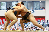 April 17th 2017, Tokyo, Japan;  Kakuryu, Hakuho, Sumo : Yasukuni Shrine Honozumo is a ceremonial annual sumo tournament held in the precincts of the Yasukuni Shrine in Tokyo, Japan.