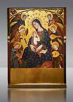 Gothic painted Panel Virgin Suckling the Child by Llorenc Saragossa. Tempera, gold leaf and metal plate on wood. Last quarter of 14th century. Dimensions 196.7 x 148.4 x 9.5 cm.  It comes from Albarracín cathedral (Teruel).  National Museum of Catalan Art, Barcelona, Spain, inv no: 005080-000