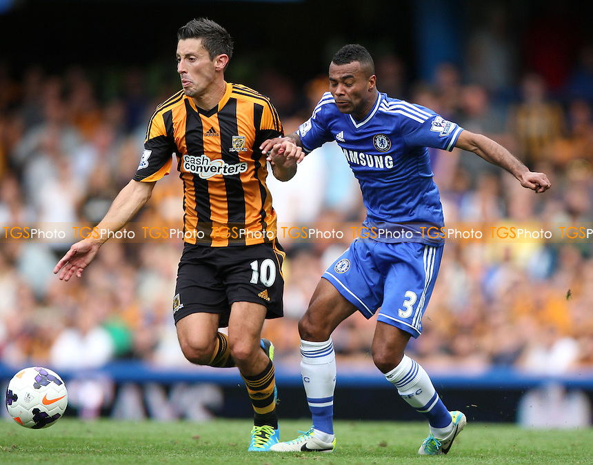Robert Koren of Hull and Ashley Cole of Chelsea - Chelsea vs Hull City, Barclays Premier League at Stamford Bridge, Chelsea - 18/08/13 - MANDATORY CREDIT: Rob Newell/TGSPHOTO - Self billing applies where appropriate - 0845 094 6026 - contact@tgsphoto.co.uk - NO UNPAID USE