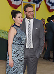 WESTWOOD, CA - AUGUST 09: Actress/screenwriter Lauren Miller (L) and actor/producer/writer Seth Rogen arrive at the Premiere Of Sony's 'Sausage Party' at Regency Village Theatre on August 9, 2016 in Westwood, California.
