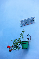 Chefchaouen, Morocco.  Owner's Name and Flower Pot on Wall of a House.