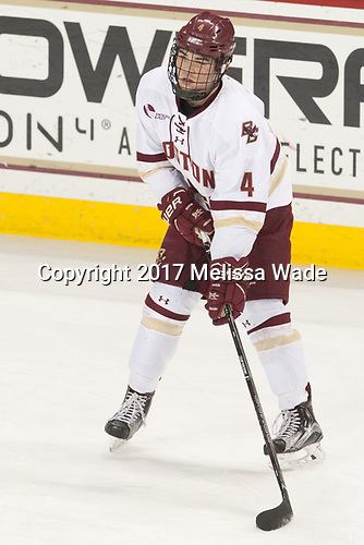 Michael Kim (BC - 4) - The visiting University of Vermont Catamounts tied the Boston College Eagles 2-2 on Saturday, February 18, 2017, Boston College's senior night at Kelley Rink in Conte Forum in Chestnut Hill, Massachusetts.Vermont and BC tied 2-2 on Saturday, February 18, 2017, Boston College's senior night at Kelley Rink in Conte Forum in Chestnut Hill, Massachusetts.