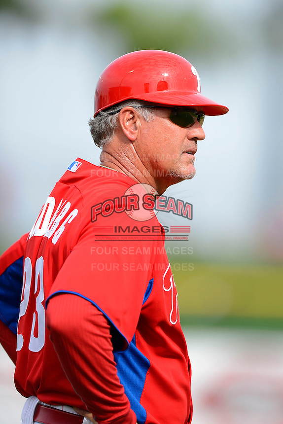 Philadelphia Phillies third base coach Ryne Sandberg #23 during a Spring Training game against the New York Yankees at Bright House Field on February 26, 2013 in Clearwater, Florida.  Philadelphia defeated New York 4-3.  (Mike Janes/Four Seam Images)