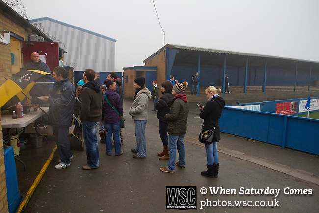 Leeds United Ladies 1 Nottingham Forest Ladies 1, 13/11/2011. Throstle Nest, FA Premier League National Division. Spectators queueing for half-time refreshments at the Throstle Nest, Farsley, West Yorkshire, home of Leeds United Ladies FC, watching the action against visitors Nottingham Forest Ladies FC in an FA Premier League National Division fixture. The match ended in a one-all draw, watched by fewer than 50 spectators at the club's regular home ground. Formed in 1989, Leeds United Ladies has been one of England's top women's sides for most of the last ten years and played in the top winter league for ladies' teams. Photo by Colin McPherson.
