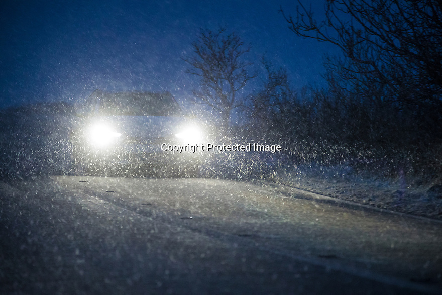 18/01/19<br /> <br /> A motorist braves blizzard conditions near Newhaven in the Peak District after heavy snowfall hits Derbyshire this evening. <br /> <br /> All Rights Reserved, F Stop Press Ltd +44 (0)7765 242650  www.fstoppress.com rod@fstoppress.com