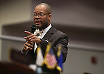 Nevada Senate Minority Leader Aaron Ford, D-Las Vegas, speaks on the Senate floor during a special session at the Nevada Legislature in Carson City, Nev. on Tuesday, Oct. 11, 2016. <br /> Photo by Cathleen Allison