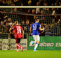 Everton's Gylfi Sigur_sson celebrates scoring his side's second goal from the penalty spot<br /> <br /> Photographer Andrew Vaughan/CameraSport<br /> <br /> The Carabao Cup Second Round - Lincoln City v Everton - Wednesday 28th August 2019 - Sincil Bank - Lincoln<br />  <br /> World Copyright © 2019 CameraSport. All rights reserved. 43 Linden Ave. Countesthorpe. Leicester. England. LE8 5PG - Tel: +44 (0) 116 277 4147 - admin@camerasport.com - www.camerasport.com