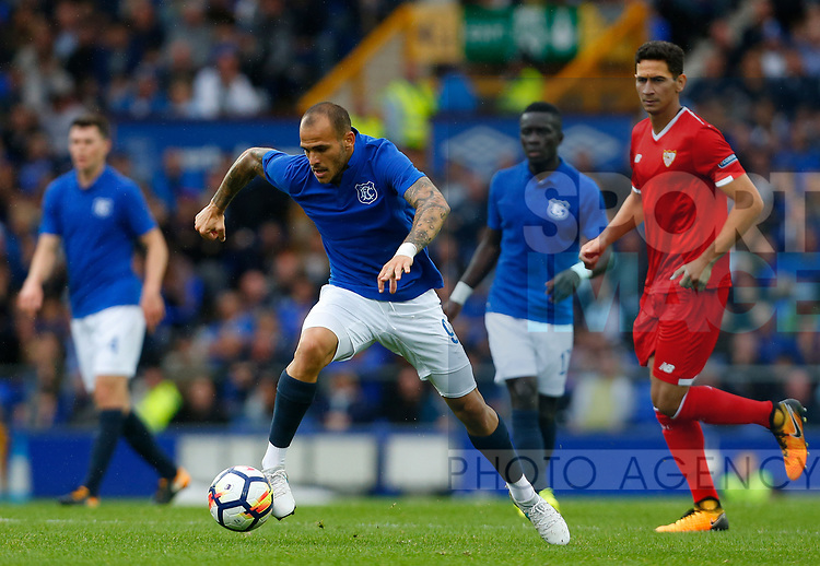 Everton's Sandro Ramírez in action during the pre season friendly match at Goodison Park Stadium, Liverpool. Picture date 6th August 2017. Picture credit should read: Paul Thomas/Sportimage