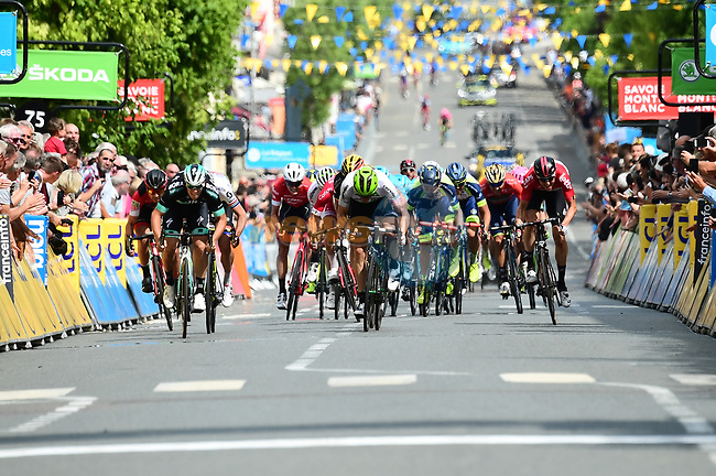 Pascal Ackermann (GER) Bora-Hansgrohe outsprints Boasson Edvald Hagen (NOR) Team Dimension Data and Daryl Impey (RSA) Mitchelton-Scott to win Stage 2 of the 2018 Criterium du Dauphine 2018 running 181km from Montbrison to Belleville, France. 5th June 2018.<br /> Picture: ASO/Alex Broadway | Cyclefile<br /> <br /> <br /> All photos usage must carry mandatory copyright credit (© Cyclefile | ASO/Alex Broadway)