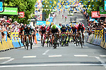 Pascal Ackermann (GER) Bora-Hansgrohe outsprints Boasson Edvald Hagen (NOR) Team Dimension Data and Daryl Impey (RSA) Mitchelton-Scott to win Stage 2 of the 2018 Criterium du Dauphine 2018 running 181km from Montbrison to Belleville, France. 5th June 2018.<br /> Picture: ASO/Alex Broadway | Cyclefile<br /> <br /> <br /> All photos usage must carry mandatory copyright credit (&copy; Cyclefile | ASO/Alex Broadway)