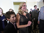 New Hyde Park, New York, USA. November 7, 2017. LAURA GILLEN, Town of Hempstead Supervisor-Elect, (with her young son at her side) speaks with supporters at Nassau County Democrats Election Night Party for Viewing Election Results, held at Inn at New Hyde Park.