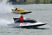 "F-266, 266 class hydroplane & Bill Gmeiner,Jr., GP-200 ""Lauterbach Special"", Grand Prix class Lauterbach hydroplane..10-12 July, 2009, 100th Gold Cup, Detroit River, Detroit, MI USA..©2009 F.Peirce Williams, USA."