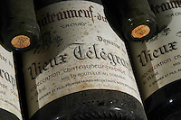 old bottles in the cellar 1995 la crau dom du vieux telegraphe chateauneuf du pape rhone france