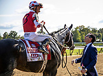 AUG 24: Jeff Bloom talks with Mike Smith after winning the Personal Ensign Stakes with Midnight Bbisou at Saratoga Racecourse in New York on August 24, 2019. Evers/Eclipse Sportswire/CSM
