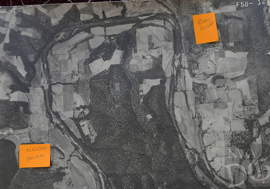 Courtesy photo<br /> This aerial photo taken in 1936, provided by the Army Corps of Engineers, shows the White River in the Hickory Creek area. Nelson Hollow is at left. Eden Bluff is at top right.