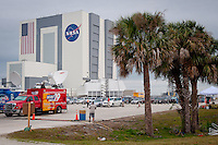 Media gather at press site at NASA's Vehicle Assembly Building, the fourth largest building in the world, the morning of Endeavour's scrubbed launch due to mechanical woes at Kennedy Space Center, Cape Canaveral, Florida, USA, April 29, 2011. Photo by Debi Pittman Wilkey
