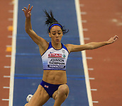 10th February 2019, Arena Birmingham, Birmingham, England; Spar British Athletics Indoor Championships; Katarina Johnson-Thompson on her way to winning the women's long jump gold medal  during Day Two of the Spar Indoor Athletics Championships at Birmingham Arena