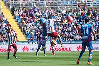 VALENCIA, SPAIN - MARCH 10: Koke, N. Ramis and Mandzukic during BBVA LEAGUE match between Levante U.D. Andr Atletico de Madrid at Ciudad de Valencia Stadium on March 10, 2015 in Valencia, Spain