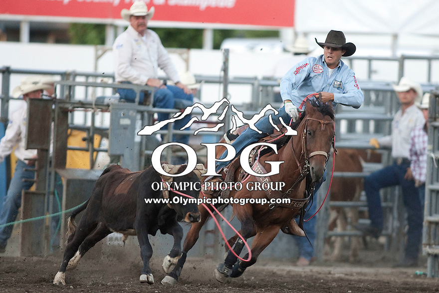 25 Aug 2011:  Arky Rogers from Lake City, Florida was not able to scored a time in the Team Roping competition at the Kitsap County Fair and Stampede Rodeo in Bremerton, Washington.