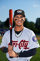 Tri-City ValleyCats Miguelangel Sierra (13) poses for a photo before a game against the Batavia Muckdogs on July 15, 2017 at Dwyer Stadium in Batavia, New York.  Tri-City defeated Batavia 5-4.  (Mike Janes/Four Seam Images)