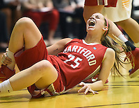 Amber Bepko injured her right knee and left the game in the first half.  Albany claimed the America East Championship for the forth year in a row with a 84-75 win over the Hawks.  Steve McLaughlin / Special to The Courant