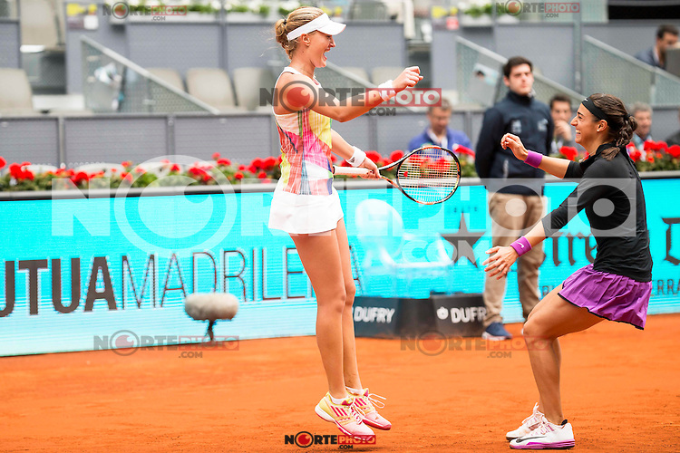 French Caroline Garcia and French Kristina Mladenovic celebrating the victory during Doubles Woman Final Mutua Madrid Open Tennis 2016 in Madrid, May 07, 2016. (ALTERPHOTOS/BorjaB.Hojas) /NortePhoto.com