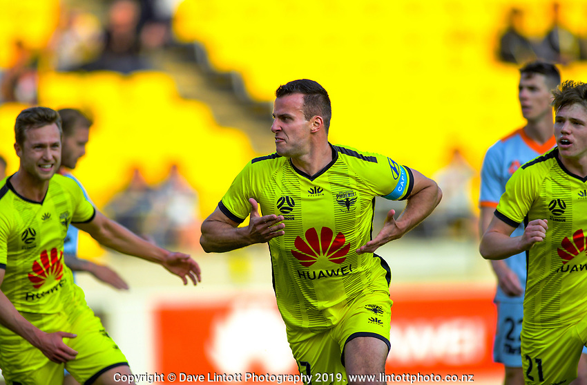 Phoenix's Steven Taylor celebrates scoring the opening goal during the A-League football match between Wellington Phoenix and Brisbane Roar at Westpac Stadium in Wellington, New Zealand on Saturday, 23 November 2019. Photo: Dave Lintott / lintottphoto.co.nz