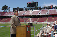 22 August 2006: Members of the media gather during a press conference at the new Stanford Stadium in Stanford, CA to introduce new concession menus and provide a sneak peak at the venue. Stanford Cardinal athletic director Bob Bowlsby addresses the press.