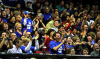 The home crowd cheers as the Saints go ahead late in the game during the NBL Basketball match between the Wellington Saints and Bay Hawks, TSB Bank Arena, Wellington, New Zealand on Saturday, 10 May 2008. Photo: Dave Lintott / lintottphoto.co.nz