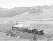 D&amp;RGW #473 with eastbound San Juan approaching the Los Pinos water tank.<br /> D&amp;RGW  Los Pinos, CO  Taken by Richardson, Robert W. - 9/16/1948