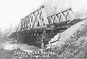 D&amp;RGW wooden through-truss bridge over Chama River just east of Chama yard.<br /> D&amp;RG  Chama, NM  Taken by Werner, Charles A. - ca. 1910-1915