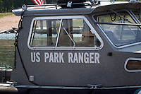 US Park Ranger Boat Apostle Islands National Seashore at Little Sand Bay Recreation Area near Bayfield Wisconsin.