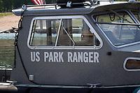 US Park Ranger Boat Apostle Islands National Seashore at Little Sand Bay Recreation Area near Bayfield Wisconsin.