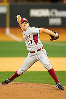 Florida State Seminoles starting pitcher Mike Compton #17 in action against the Wake Forest Demon Deacons at Wake Forest Baseball Park on March 24, 2012 in Winston-Salem, North Carolina.  The Seminoles defeated the Demon Deacons 3-2.  (Brian Westerholt/Four Seam Images)