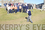 MEMBERS: Members of ballyheigue Golf Club gathered on Sunday at ballyheigue Golf Club to watch the Captsains drive in.................................. ....