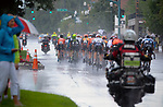 August 10, 2017 - Colorado Springs, Colorado, U.S. -  Cyclists and spectators battle very difficult weather in the later portion of the opening stage of the inaugural Colorado Classic cycling race, Colorado Springs, Colorado.