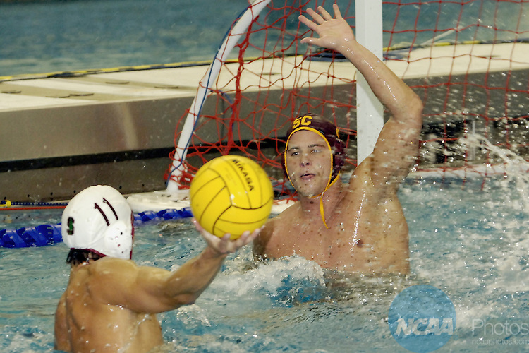 4  Dec 2005:University of Stanfords Thomas Hopkins(11) attempts to score against  University of Southern Californias Thomas Hale (2) during  the Division 1 Men's Water Polo Championship Finals held at the Kinney Natatorium on the campus of Bucknell University in Lewisburg, Pa. USC defeated Stanford 3-2 to win the national title. Mark Selders/NCAA Photos