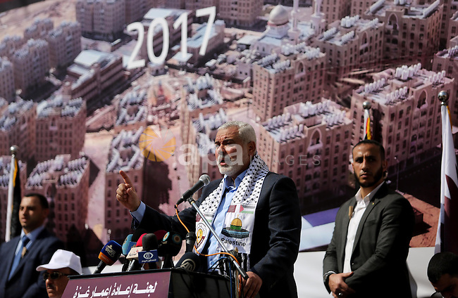 Hamas leader Ismail Haniyeh speaks during the ceremony of the second phase of the Sheikh Hamad Town, in Khan Younis in the southern Gaza strip, on February 11, 2017. Photo by Ashraf Amra