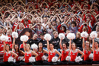 The Ohio State University dance team and student section pauses while waiting for free throws to find their target during Wednesday's NCAA Division I basketball game against American University at Value City Arena in Columbus on November 20, 2013. Ohio State won the game 63-52. (Barbara J. Perenic/The Columbus Dispatch)