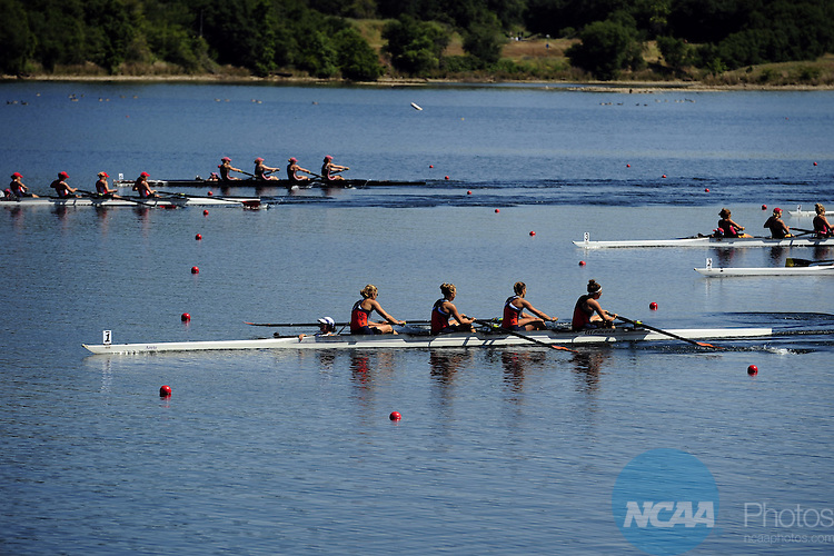 30 MAY 2010: Virginia rows their way to a first place finish in the Fours Grand Final during the 2010 NCAA Division I Rowing Championships held at the Sacramento State Aquatic Center in Gold River, Ca. Virginia won the race with a time of 7:07.98. Jose Luis Villegas/NCAA Photos..