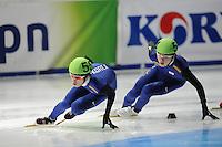 SCHAATSEN: DORDRECHT: Sportboulevard, Korean Air ISU World Cup Finale, 11-02-2012, Da Woon Sin KOR (55), Jinkyu Noh KOR (54), ©foto: Martin de Jong