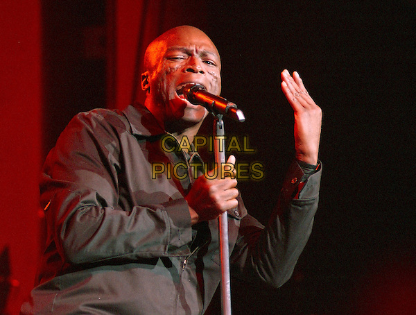 SEAL.Performing live in concert at The Grove of Anaheim, Anaheim, California..April 30th 2004.half length half-length gig music singing microphone on stage hand gesture.*UK sales only*.www.capitalpictures.com.sales@capitalpictures.com.©Capital Pictures