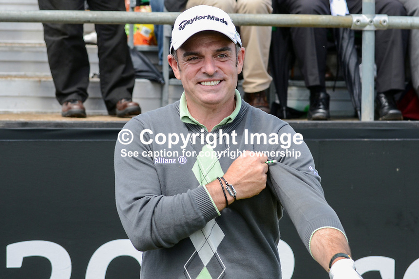 Paul McGinley, professional golfer, Rep of Ireland, taken 27th June 2012 on the first tee, Pro-Am competition, Irish Open Championship, Royal Portrush Golf Club, N Ireland. 2012062770340..© Victor Patterson, 54 Dorchester Park, Belfast, N Ireland. Tel: +44 2890661296; Mobile: +44 7802 353836; Emails: victorpatterson@me.com & victorpatterson@gmail.com; www.victorpatterson.com