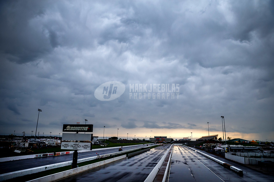 May 19, 2017; Topeka, KS, USA; Overall view of the track during a rain delay to NHRA qualifying for the Heartland Nationals at Heartland Park Topeka. Mandatory Credit: Mark J. Rebilas-USA TODAY Sports