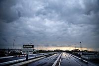 May 19, 2017; Topeka, KS, USA; Overall view of the track during a rain delay to NHRA qualifying for the Heartland Nationals at Heartland Park Topeka. Mandatory Credit: Mark J. Rebilas-USA TODAY Sports
