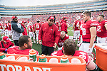 Wisconsin Badgers defensive line coach Inoke Breckterfield talks to his unit during an NCAA College Big Ten Conference football game against the Purdue Boilermakers Saturday, October 14, 2017, in Madison, Wis. The Badgers won 17-9. (Photo by David Stluka)
